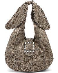 Shrimps Ellery Leopard-print Canvas Shoulder Bag - Brown