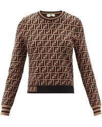 Fendi Ff-jacquard Sweater - Brown