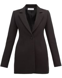 Marina Moscone Single Breasted Longline Cotton Twill Blazer - Black