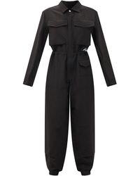Jil Sander Logo-patch Cotton-blend Jumpsuit - Black
