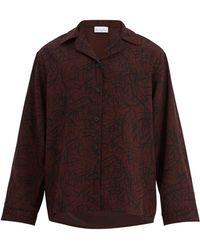 Raey Squiggle Print Silk Crepe Pyjama Shirt - Multicolour