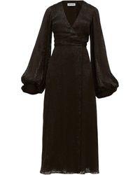 Adriana Iglesias V-neck Leopard-pattern Devoré Maxi Dress - Black