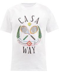 CASABLANCA テニス ロゴ オーガニックコットンtシャツ - ホワイト