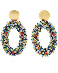 Carolina Herrera - Bead-embellished Hoop Clip-on Earrings - Lyst