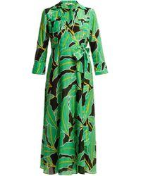 Diane von Furstenberg Clarem Cotton Blend Voile Wrap Dress - Green