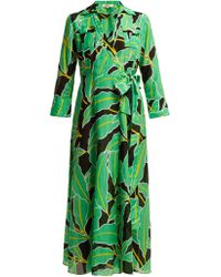 Diane von Furstenberg Robe portefeuille en voile de coton mélangé Clarem - Vert