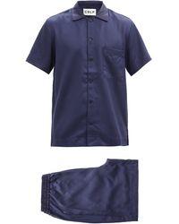 CDLP Pyjama en satin à manches courtes Home Suit - Bleu