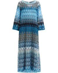 Missoni Metallic Leaf Print Maxi Dress - Blue