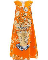 Marta Ferri Stresa Floral-print Linen-twill Trapeze Dress - Orange
