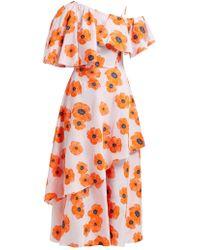 Vika Gazinskaya One Shoulder Floral Fil Coupé Crepe Midi Dress - Orange