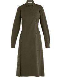 Tomas Maier - Asymmetric Buttoned Poplin Dress - Lyst