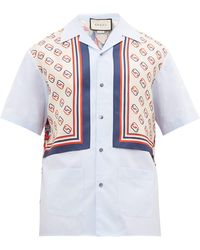 Gucci Lion And Gg Print Cotton And Silk Panel Shirt - Blue