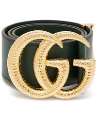Gucci GG Marmont Leather Belt With Shiny Buckle - Green