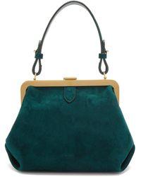 Khaite Agnes Small Suede Top-handle Bag - Green