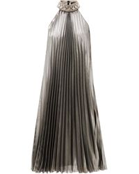 Andrew Gn Crystal-collar Pleated Silk-blend Lamé Dress - Metallic