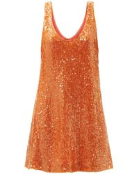 Galvan London Robe courte en crêpe à sequins Delirium - Orange