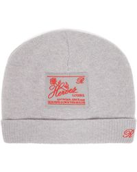 Raf Simons Heroes-embroidered Wool-blend Beanie Hat - Grey