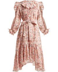 Horror Vacui Robe en coton à imprimé floral Defensia - Rose