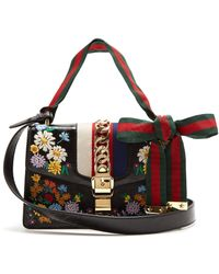 8cc68e8d103 Gucci - Sylvie Embroidered Leather Shoulder Bag - Lyst