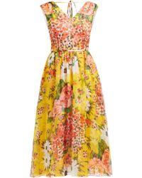 Carolina Herrera Floral Print Silk Chiffon Dress - Yellow