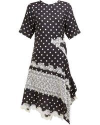 Koche Asymmetric Patchwork Polka Dot And Lace Midi Dress - Black