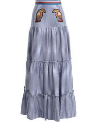 Stella Jean Tiered Striped Maxi Skirt - Blue