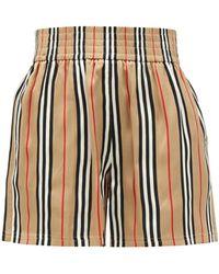 Burberry Marsett Icon-striped Silk Shorts - Natural