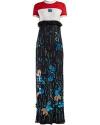 Prada Sequinned Silk-chiffon Gown - Blue