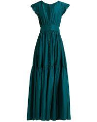 Loup Charmant Mayette Silk Tiered Maxi Dress - Green