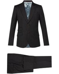 Gucci Heritage Logo Print Wool Suit - Gray