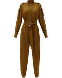 Proenza Schouler Belted Wool-blend Jumpsuit - Multicolor