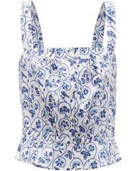 Thierry Colson Rossa Floral-print Cotton Top - Blue
