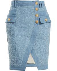 Balmain - Textured-denim Mini Skirt - Lyst
