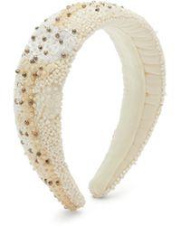 Ganni Beaded Padded Headband - White
