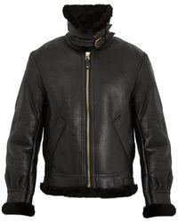 Schott Nyc Military B 3 Shearling Jacket - Black