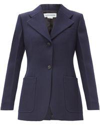 Victoria Beckham ウールツイル シングルジャケット - ブルー