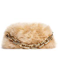 Bottega Veneta The Chain Pouch Shearling Shoulder Bag - Natural