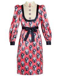 Gucci - Gg Wallpaper-print Silk-satin Dress - Lyst
