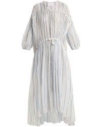 LOVE Binetti - Drawstring-waist Striped Cotton Dress - Lyst