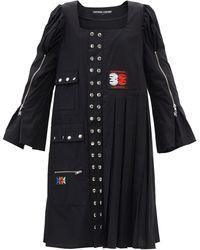 Chopova Lowena Morson Square-neck Studded Cotton-poplin Dress - Black