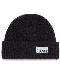 Ganni Logo-patch Ribbed Wool-blend Beanie - Grey