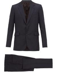The Row Nolan Single-breasted Wool-herringbone Suit - Blue