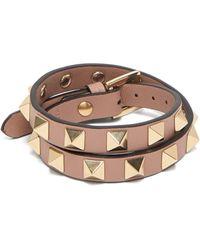 Valentino Garavani Bracelet en cuir à enrouler Rockstud - Rose
