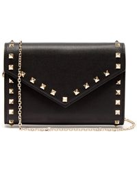 e66c576e5c Valentino Rockstud Small Leather Clutch in White - Lyst