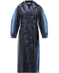 Emilia Wickstead Wilmer Python-print Pvc Trench Coat - Blue