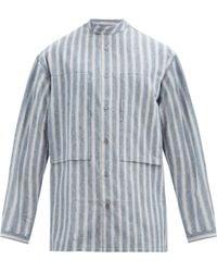 E. Tautz Stand-collar Striped Cotton-chambray Shirt - Blue