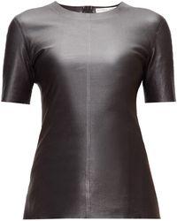 Bottega Veneta ラウンドネック レザーtシャツ - ブラック