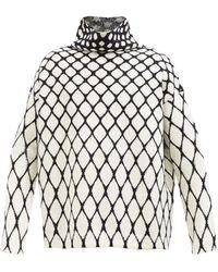 Valentino ハイネック メッシュジャカード ウールセーター - ホワイト