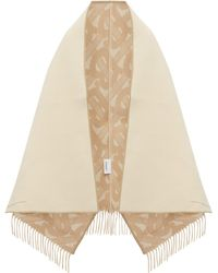 Burberry Helene Leather Trimmed Merino Blend Poncho Wrap - Natural