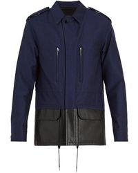 Berluti - Contrast Leather Panel Cotton-blend Jacket - Lyst